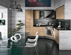 Cucina ciliegio moderna ad angolo Compo 18 Artec in Offerta Outlet