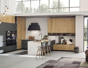 Cucina Colombini casa moderna con penisola rovere moro in legno  finitura in legno di rovere, con venature e nodi in evidenza