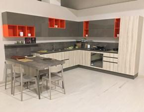 Cucina completa con penisola rovere chiaro e grigio lucido Astra cucine