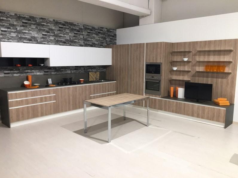 Cucina completa rovere chiaro ebianco opaco ad angolo astra cucine - Cucina completa angolare ...