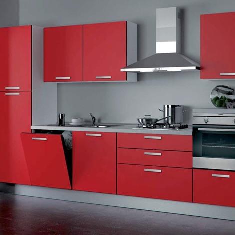 Cucina componibile modello nita Moderna Laccato Lucido rossa - Cucine a prezzi scontati