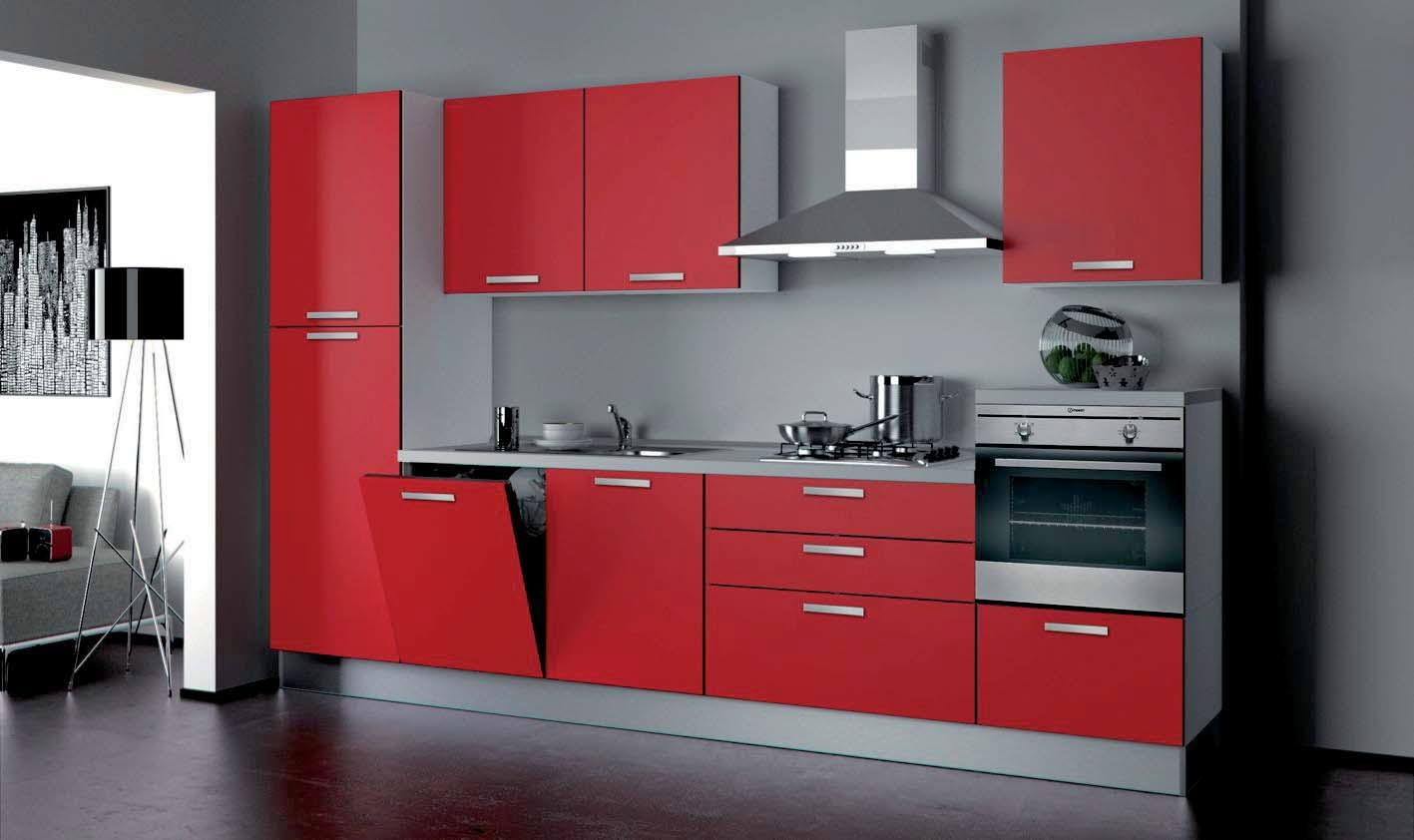 Cucina componibile modello nita moderna laccato lucido rossa cucine a prezzi scontati - Cucina bianca e rossa ...