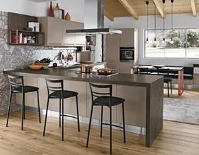 Cucina Componibile moderna grigio con penisola Colombini