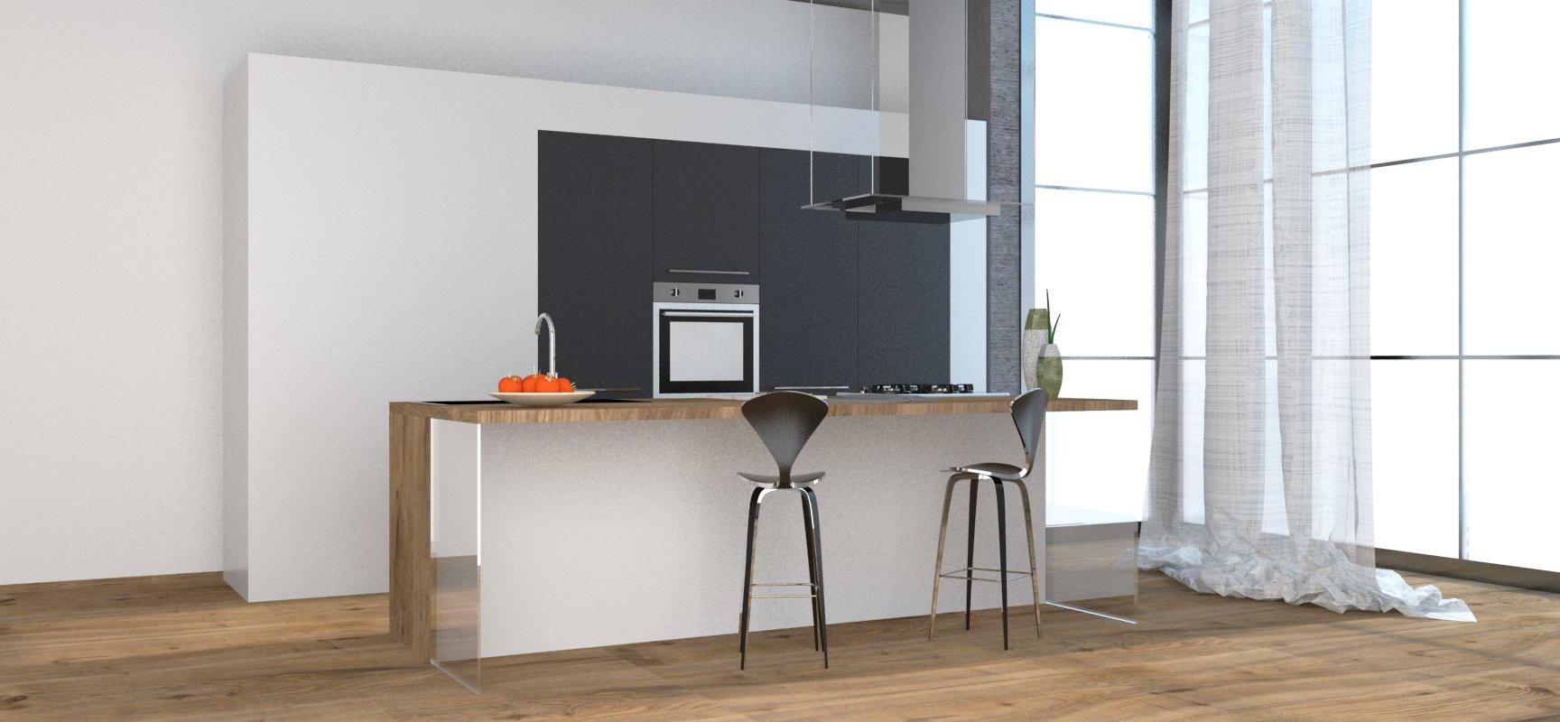 Cucina con isola, bancone in finitura legno e elettrodomestici ...