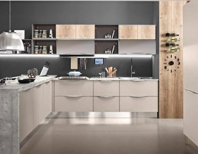 cucina moderna con penisola in grigio cemento