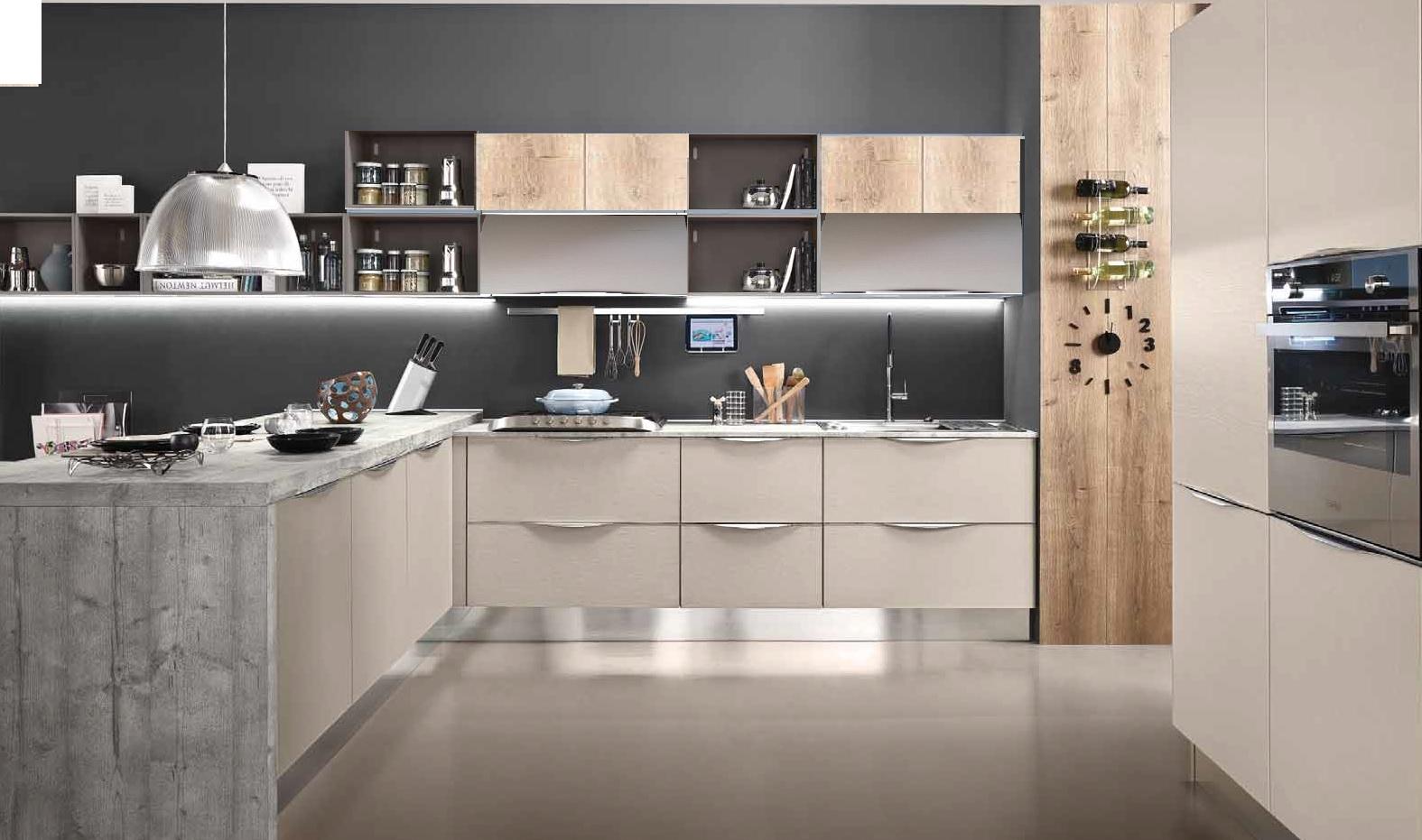 Cucina con penisoia in essenza cemento grigio in offerta completa di elletrodomestici cucine a for Piano cucina in cemento