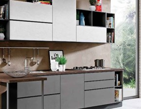 Cucina con penisola in laminato materico grigio Cucina in ossido cemento moderna industry in offerta   a prezzo scontato