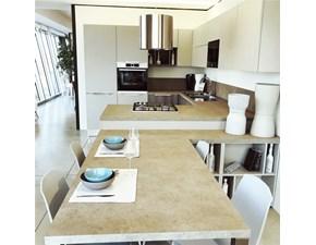 Cucina con penisola in laminato materico grigio Swing colibri' a prezzo ribassato