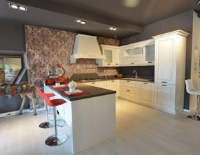 Cucina con penisola in legno bianca Cc02 a prezzo scontato