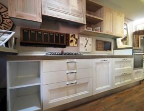 Cucina con penisola in legno bianca  cucina   shabby  white  con penisola effetto  wood in offerta  a prezzo scontato