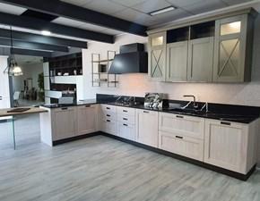 Cucina con penisola in legno bianca Eva a prezzo scontato