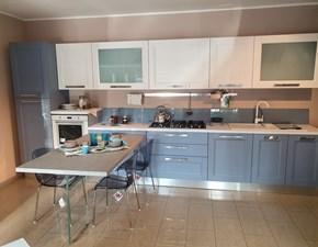 Cucina con penisola in legno bianca Georgia a prezzo ribassato