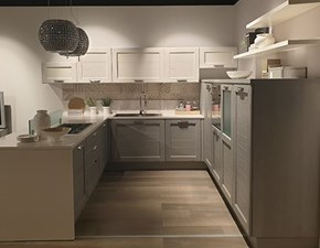 Cucina con penisola in legno grigio Claudia a prezzo ribassato