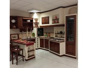 Cucina con penisola in legno noce Nonna luisa a prezzo scontato