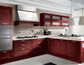 Cucina con penisola in legno rossa Cucina red fashion vintage   a prezzo scontato