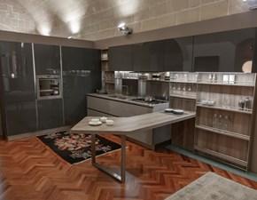 Cucina con penisola in melaminico grigio Start-time j/like j a prezzo scontato