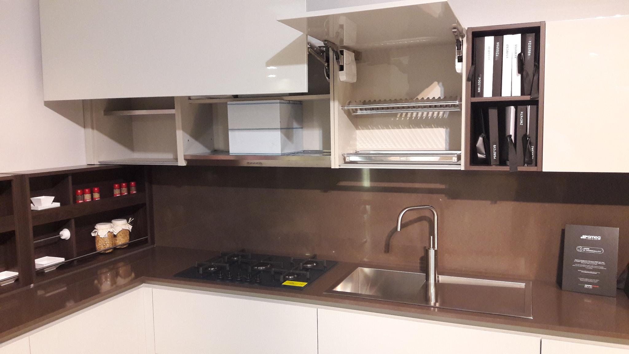 Cucina con penisola logica laccata grigio cenere poro for Piano cottura cucina