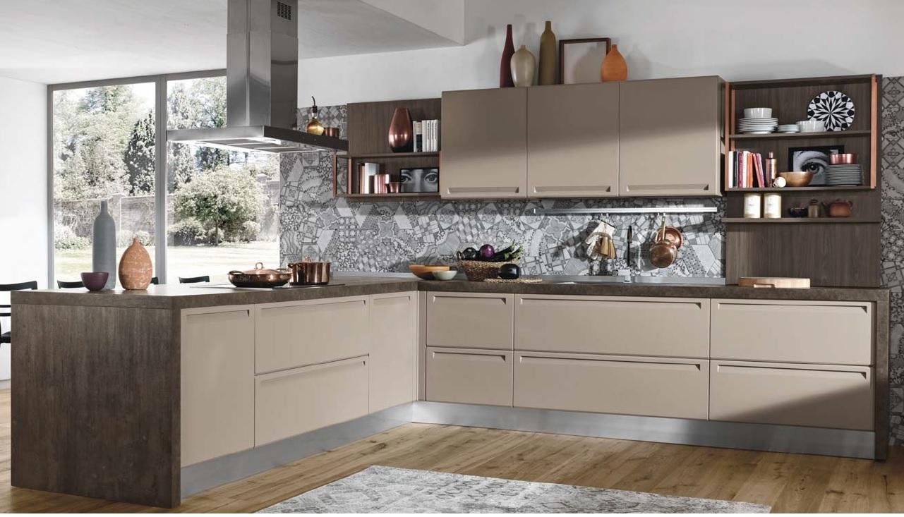 Cucina con penisola moderna i integrata essential in - Cucina in offerta ...