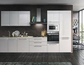 Cucina Concreta cucine moderna lineare bianca in laminato lucido Juliet
