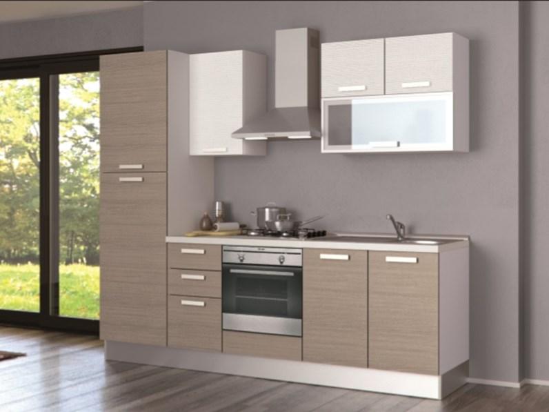 Cucine Moderne In Rovere Chiaro.Cucina Creo Kitchens Alma Melaminico L 255 Moderna Laminato Materico Rovere Chiaro
