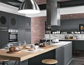 Cucina Cucina industrial  carbone  con isola e colonne   industriale grigio con penisola Nuovi mondi cucine