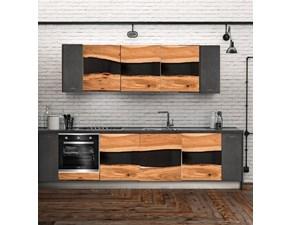 Cucina Cucina industrial onda legno e metallo   industriale rovere chiaro lineare Nuovi mondi cucine