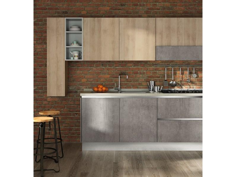 Cucina Moderna In Rovere Sbiancato.Cucina Cucina Industrial Ossido Moderno Design Rovere Chiaro Lineare Nuovi Mondi Cucine