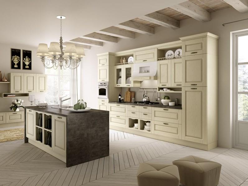 Cucina Cucina mod. carlotta decapè avorio con isola centrale scontata del  35% classica magnolia ad isola Ala cucine