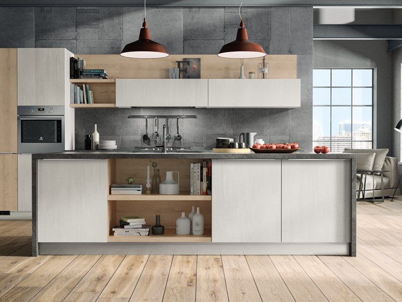 Cucina Cucina Moderna Con Isola In Offerta Nuovimondi 2020 Moderna Rovere Chiaro Ad Isola Nuovi Mondi