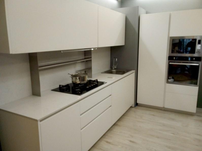 Cucina Del tongo design lineare bianca in laccato opaco Creta