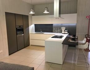 Cucina design bianca Modulnova con penisola Light in Offerta Outlet
