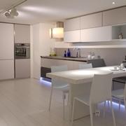 Cucina design in vetro arredo 3 con quarzo e tavolo legno