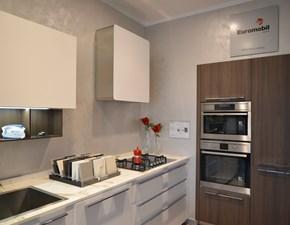 Cucina design lineare Euromobil Lain ecolaccato bianco ottico a prezzo scontato