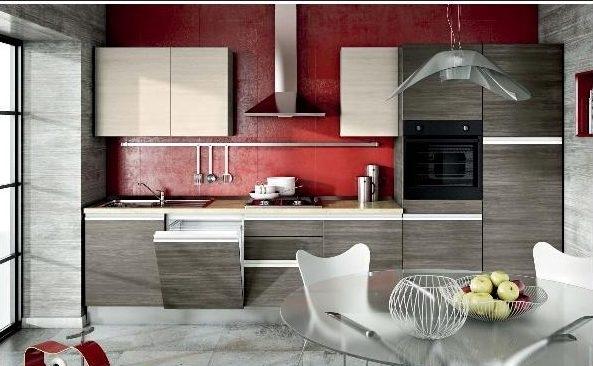 Cucina design moderna con gola completa di elettodomestici - Cucina bordeaux ...