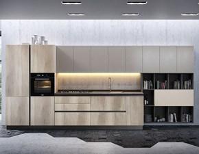Cucina design rovere chiaro Artigianale lineare Dafne scontata