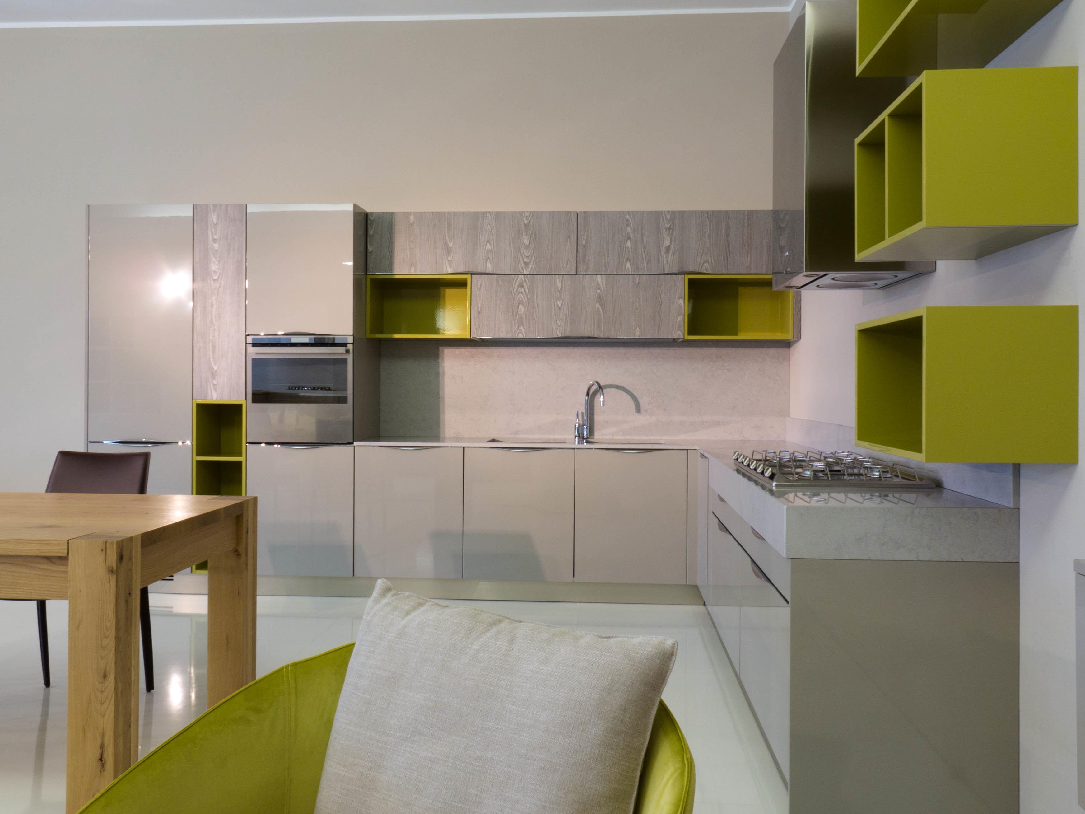 Cucina duna polimerico lucido tortora piano okite - Cucina componibile prezzi ...