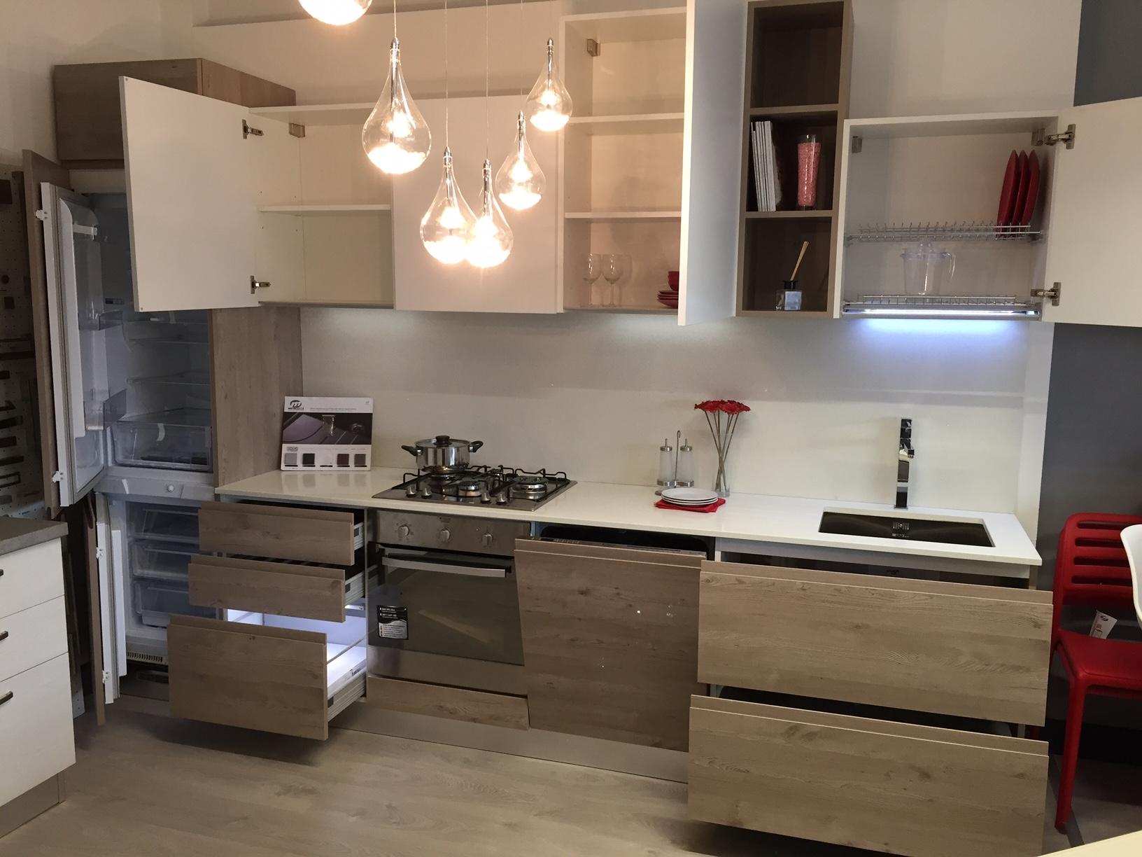 Cucina Effe4 Wave Moderna Laminato Materico neutra L.330cm - Cucine a prezzi ...