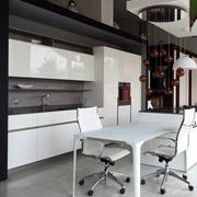 Elmar Cucine Modello @ Home fronte colonne e parete lavaggio+@ Home Cube per isola ante a terra, Laccato Lucido Bianco