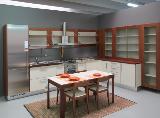 Cucina ernestomeda flute ciliegio e bianca, top acciaio   cucine a ...