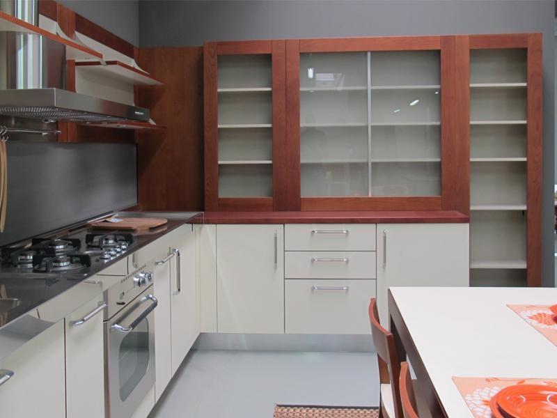 Cucina ernestomeda flute ciliegio e bianca top acciaio cucine a prezzi scontati - Cucina acciaio prezzi ...
