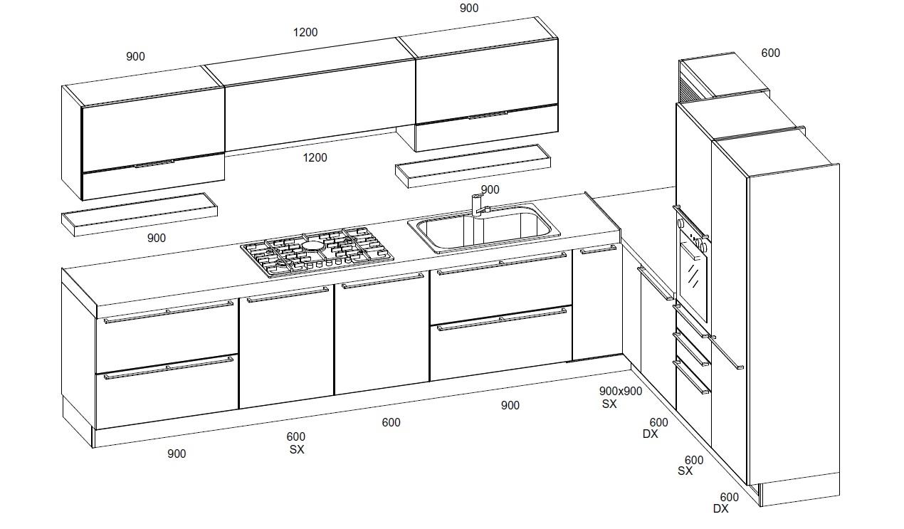 cucina lineare disegno ~ il meglio del design degli interni - Disegni Cucine