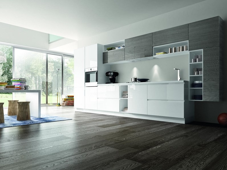 Cucine Bianco Grigio : Essebi cucine cucina luxor versione polimerico bianco e grigio