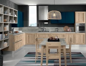 Cucina Essenza colore rovere gola moderna rovere chiaro ad angolo Nuovi mondi cucine