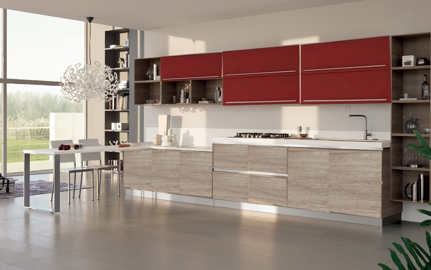 Cucina essenza prezzo outlet rossa e beige in offerta con piano penisola omaggio cucine a - Cucina bianca e rossa ...