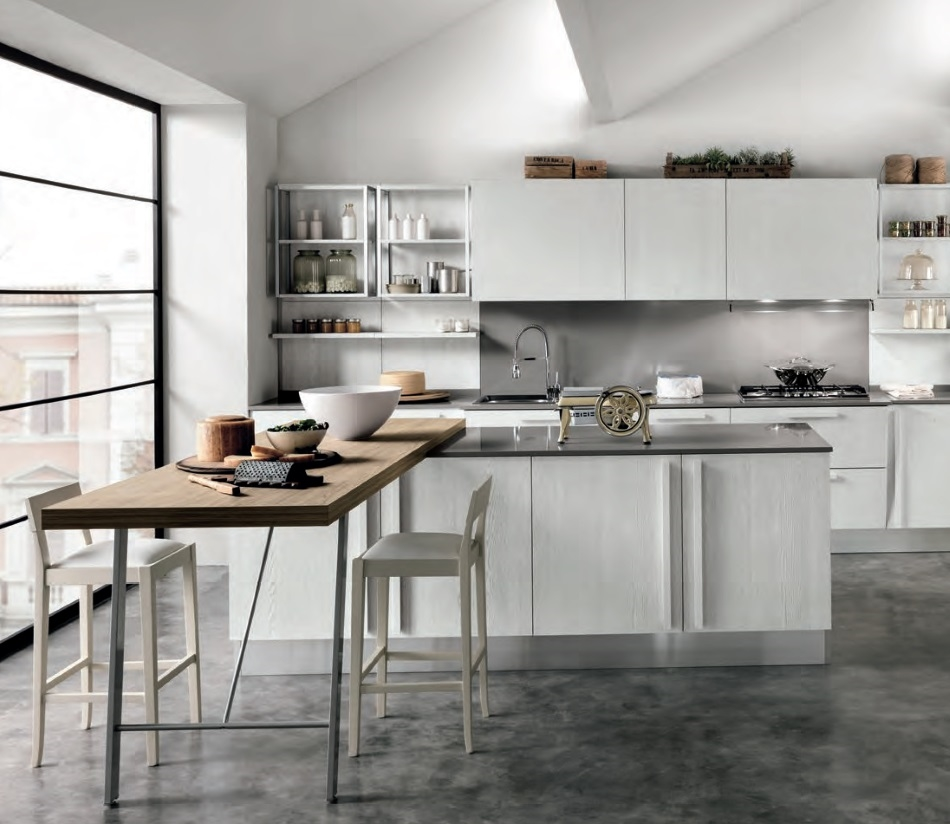 cucina essenza  white shabby chic  con isola offerta  outlet convenienza