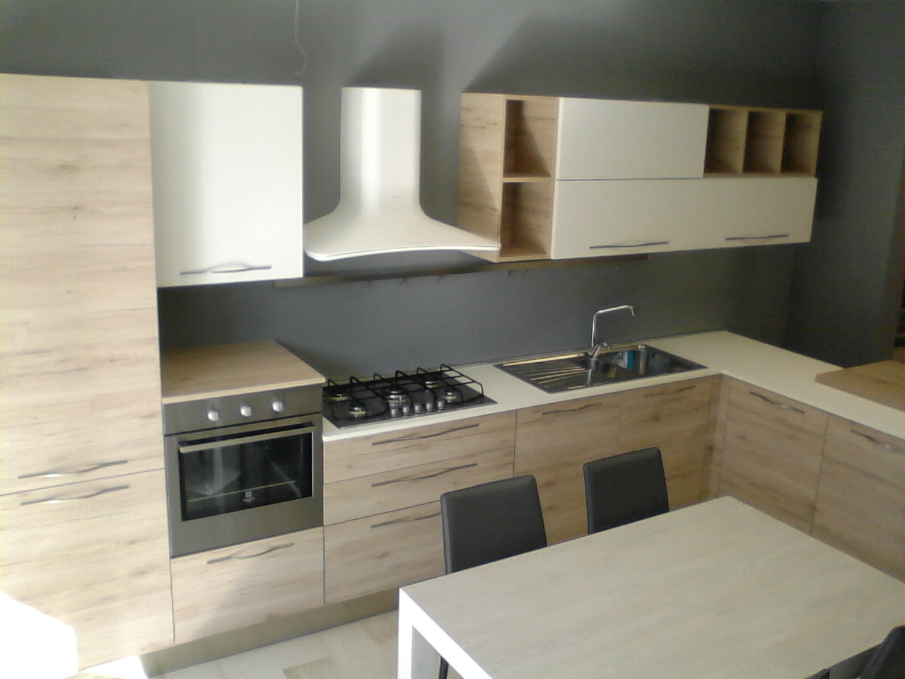 Cucina gicinque cucine oslo rovere scandinavo e bianco moderno cucine a prezzi scontati - Cucine faber prezzi ...