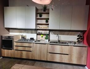 Cucina Gicinque moderna lineare rovere chiaro in melaminico Smart
