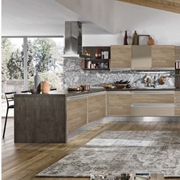 cucina gola in offerta outlet  con penisola top essenza seta scura