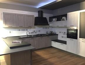 Cucina grigio industriale ad angolo City- rovere brizzo e rovere bianco Stosa cucine