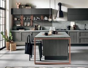 Cucina grigio industriale con penisola Cucina modello grigioindustrail telaio legno in offerta grigia o white  Nuovi mondi cucine